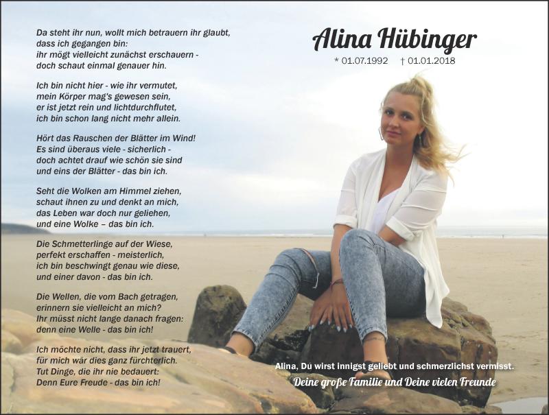 Traueranzeige für Alina Hübinger vom 29.12.2018 aus