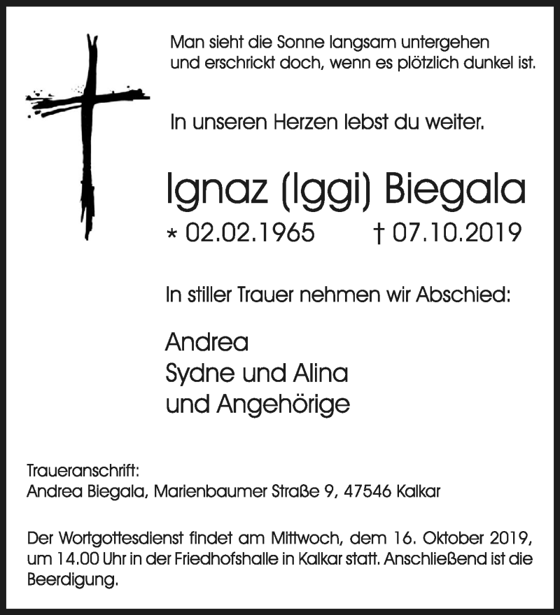 Traueranzeige für Ignaz Biegala vom 12.10.2019 aus