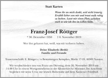 Traueranzeige von Franz-Josef Röttger