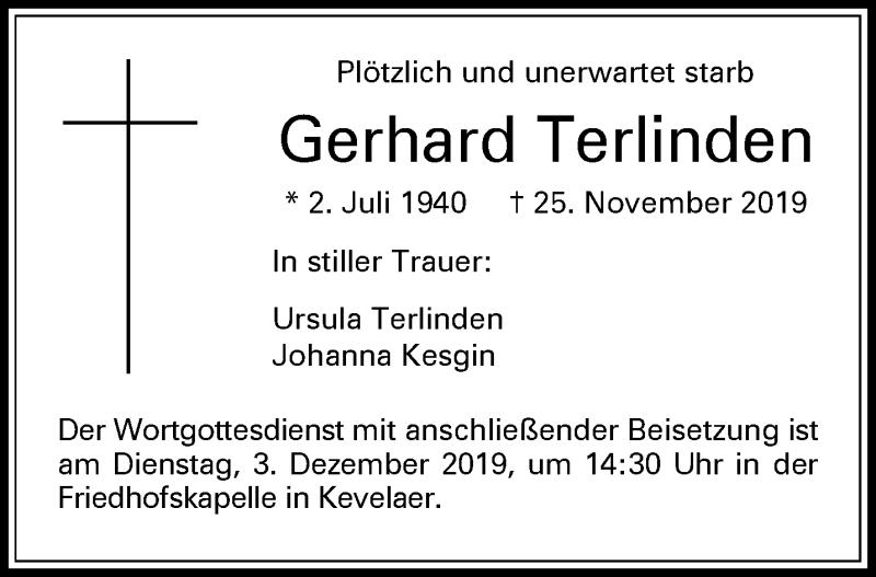 Traueranzeige für Gerhard Terlinden vom 30.11.2019 aus
