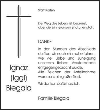 Traueranzeige von Ignaz Biegala