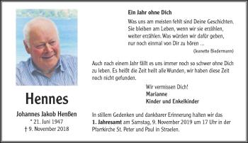 Traueranzeige von Johannes Jakob Henßen