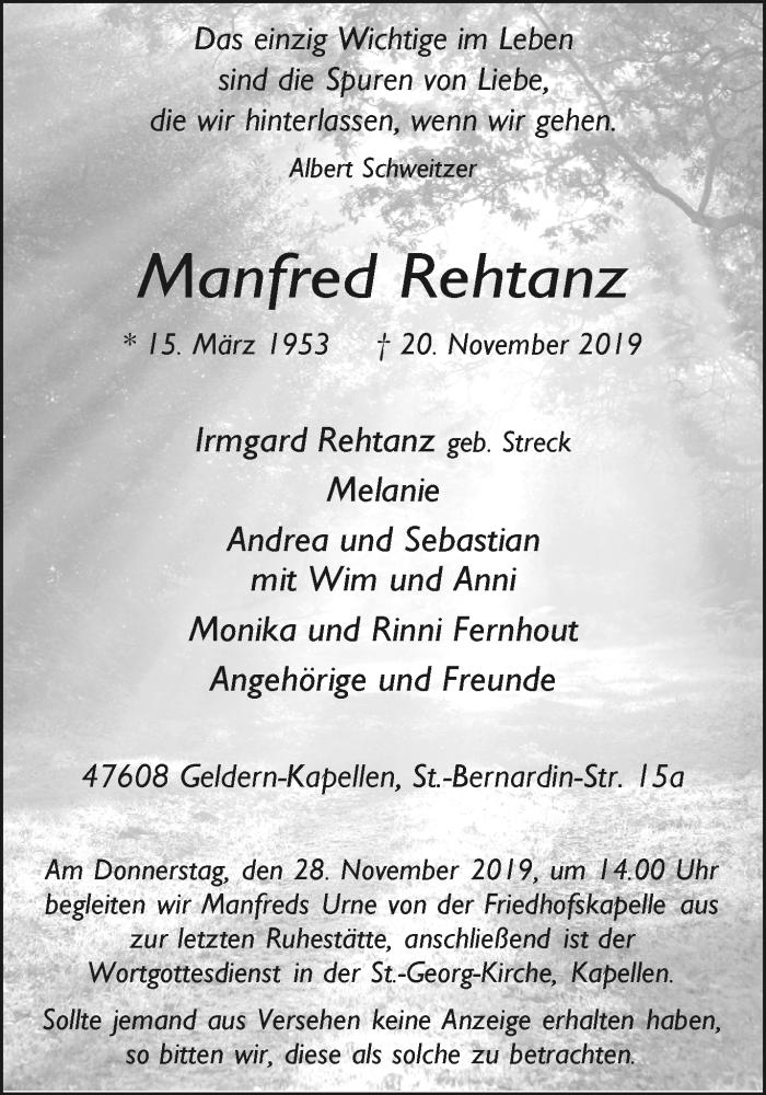 Traueranzeige für Manfred Rehtanz vom 27.11.2019 aus