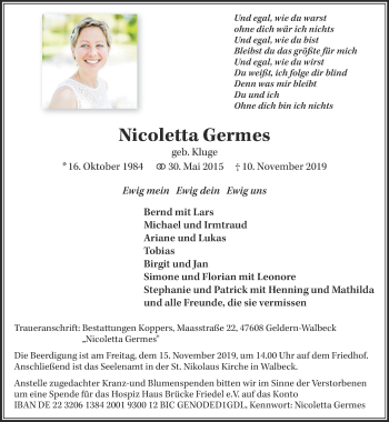 Traueranzeige von Nicoletta Germes