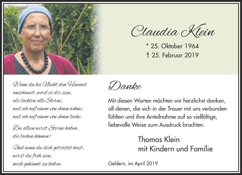 Traueranzeige für Claudia Klein vom 20.04.2019 aus