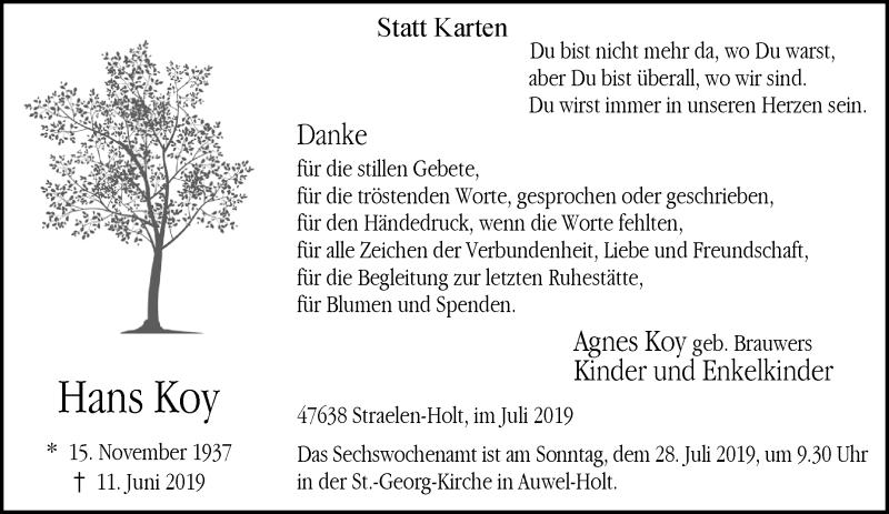 Traueranzeige für Hans Koy vom 20.07.2019 aus