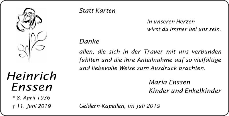Traueranzeige für Heinrich Enssen vom 20.07.2019 aus