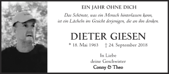 Traueranzeige von Dieter Giesen