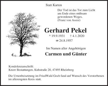 Traueranzeige von Gerhard Pekel