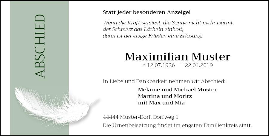 Traueranzeigen Von Meta Muster Trauer Kreiszeitung De